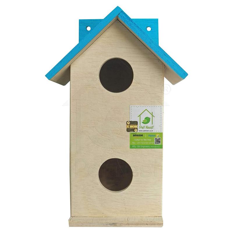 BackToNest Beautiful Duplex Bird House Nest Box for Sparrow and Garden Birds Wood Bird Nest SkyBlue